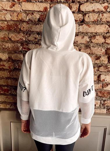 XHAN Siyah File Detaylı Baskılı Tunik Boy Sweatshirt 1Kxk8-44203-02 Beyaz